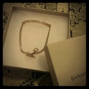 Banana Republic Gold and Crystal Bracelet